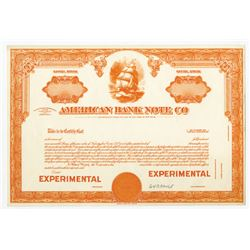 "American Bank Note Co., ND (ca.1930-60) Proof ""Experimental"" Advertising Stock Certificate."