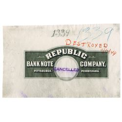 Republic Bank Note  Co., 1949 Box Label Impression Certifying the Plate was Cancelled.