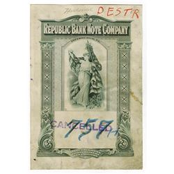 Republic Bank Note Company, ND (ca.1920-30's) Plate Destruction Final Proof.
