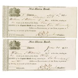 New Haven Bank. 1831. Issued Stock Certificate Pair.