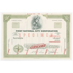 "First National City Corporation with Name Changed to ""CITICORP"", 1972 Specimen Stock Certificate"