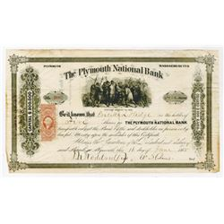 Plymouth National Bank, 1865 I/U Stock Certificate