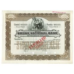 Bronx National Bank of the City of New York, 1907-1920 Specimen Stock Certificate.