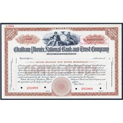 Chatham Phenix National Bank and Trust Co. ca.1910-20 Specimen Stock Certificate.