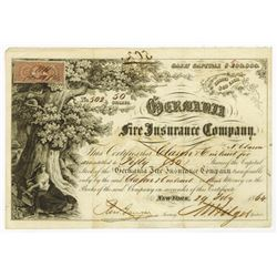 Germania Fire Insurance Co., 1864 Stock Certificate.