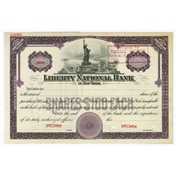 Liberty National Bank, ca.1920-1930 Specimen Stock Certificate