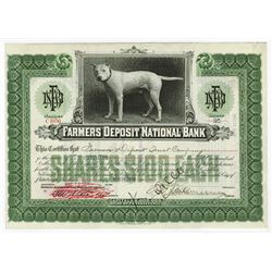Farmers Deposit National Bank, 1916 Issued Stock Certificate.