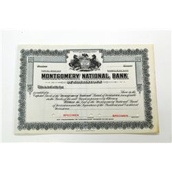 Montgomery National Bank of Norristown, ND (1920-30) Specimen Stock Certificate.