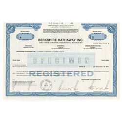 Berkshire Hathaway Inc. 1990 Specimen Zero Coupon Bond with Facsimile Signature of Warren Buffett