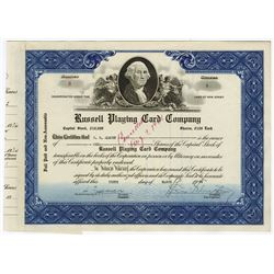 Russell Playing Card Co., 1936 Issued Stock Certificate.