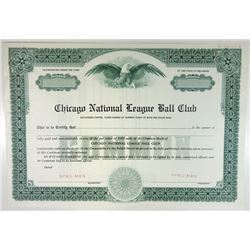 Chicago National League Ball Club, ca.1930-1940 Specimen Stock Certificate