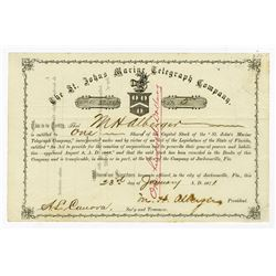St. Johns Marine Telegraph Co., 1871 Stock Certificate