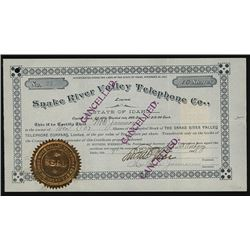 Snake River Valley Telephone Co., Ltd. Stock Certificate.