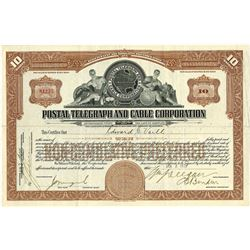 Postal Telegraph and Cable Corp., 1929 Issued Stock Certificate