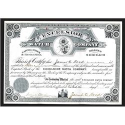 Excelsior Watch Co. 1880's Issued but Undated Stock Certificate..
