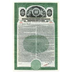 Argentine Republic Sinking Fund External Conversion Loan, 1937 Specimen Bond.