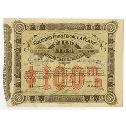 Sociedad Territorial La Plata, 1886 Issued Stock Certificate