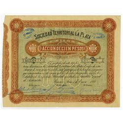 Sociedad Territorial La Plata, 1888 Issued Stock Certificate