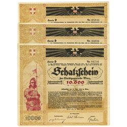Borough of Vienna. 1924. Trio of Treasury Bonds.