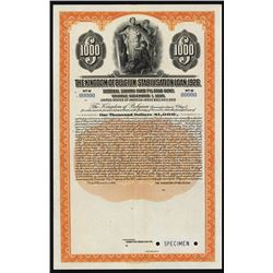 The Kingdom of Belgium Stabilisation Loan, 1926 Specimen Bond.