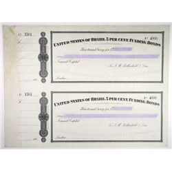 United States of Brazil, 1898 Specimen Bond Scrip Sheet Issued by N.M. Rothschild & Sons.