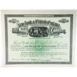 New York & British Guiana Gold Mining Co., 1894 100 Shrs I/C Stock Cert., XF