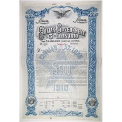 Chilean Government 5% Loan of 1910 Specimen Bond