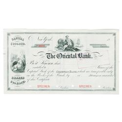 Oriental Bank, 1903 Specimen Stock Certificate.
