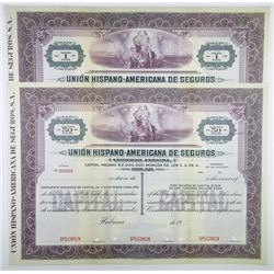 Union Hispano-Americana de Seguros, ca.1920-1930 Pair of Specimen Stock Certificates