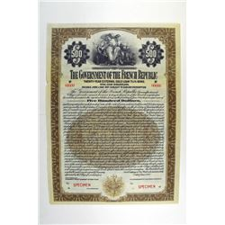 Government of the French Republic, 1921 Specimen Bond.