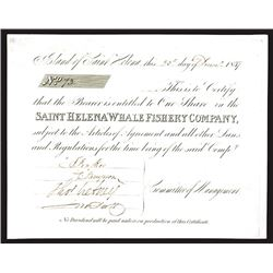 Saint Helena Whale Fishery Co., 1837 Issued Stock Certificate
