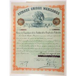 Estados Unidos Mexicanos, Bono De Liquidacion de los Sueldos de los Empleados Federales, 1923 Coupon