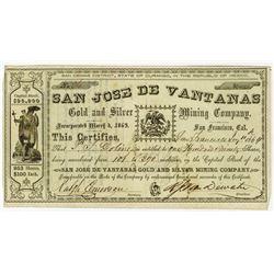 San Jose De Vantanas, 1864 Issued Stock Certificate.