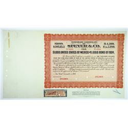 Speyer & Co., 1904 Specimen Temporary Bond for $1000 United States of Mexico 4% Gold Bonds.
