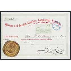 Mexican and Spanish-American Commercial Exchange Honorary Member Cert..