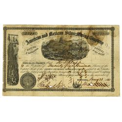 American and Mexican Silver Mining Co., 1861 Issued Stock Certificate.
