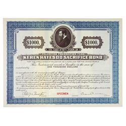 Palestine Foundation Fund - Keren Hayesod Specimen Sacrifice Bond 1922