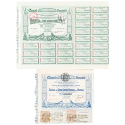 Canal Interoceanique de Panama, 1880-1884 Pair of Certificates