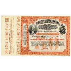 Credito y Ahorro Ponceno S.A. 1897, 50 Pesos Specimen Bond.