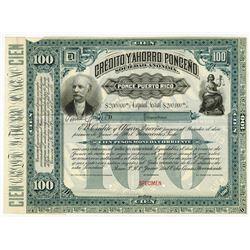 Credito y Ahorro Ponceno S.A. 1897, 100 Pesos Specimen Bond.