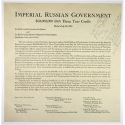 Imperial Russian Government, 1916-1927 Letters Pertaining to Redemption