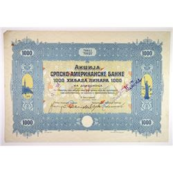 Serbo-American Bank, 1922 Issued Bond