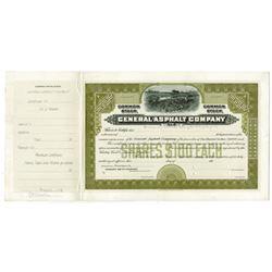 General Asphalt Co. 1913 Approval Proof Stock Certificate.