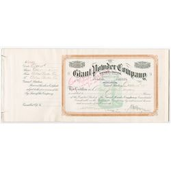 Giant Powder Company 1917 Issued & Remainder Consolidated Shares