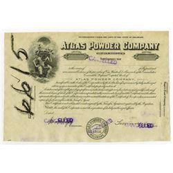 Atlas Powder Co., ND (1920's) Progress Proof Stock Certificate.