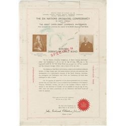 The Six Nations (Iroquois) Confederacy of North America, 1936 Specimen Bond.