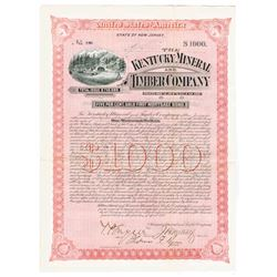 Kentucky Mineral and Timber Co., 1892 Issued Bond Signed by Thomas F. Ryan