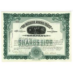 Interior Mining and Trust Co., 1907 Issued Stock Certificate