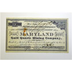 Maryland Gold Quartz Mining Co. 1888 Stock Certificate.
