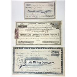 Trio of Northern California Mining Stock Certificates, 1892-1904
